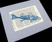 Moby Dick GYOTAKU Original Fish Art Rubbing on page text by Barry Singer matted