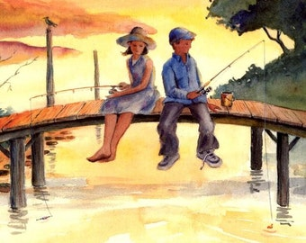 Young Fishermen / fisherwomen Kids fishing Romance Love waiting for a bite 8X10 Cottage Art Print from a watercolor by Barry Singer