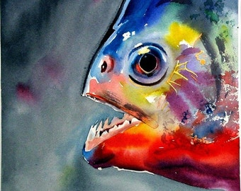 Piranha Tropical fish Watercolor Art print Best Lake and Beach Decor by Barry Singer
