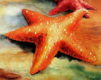 Starfish in LOVE... Coastal Beach Decor 8X10 Best WATERCOLOR  Art print Ocean Sealife by Barry Singer
