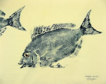 Porgy or Scup Fish Art rubbing GYOTAKU original on cloth