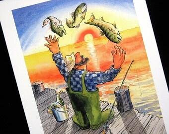 Original Lighthearted Cheerful Watercolor Painting Fisherman Juggler with Bass at Sunrise Beach Decor by Barry Singer