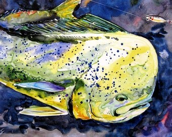 Mahi Mahi Dorado Dolphin Fish Picture Coastal Decor Watercolor Art Print FREE US SHIPPING every day by Barry Singer in two sizes