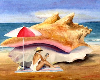 Original Ocean Watercolor Conch and Kindle Beach Decor 9 X 12 Painting by Barry Singer