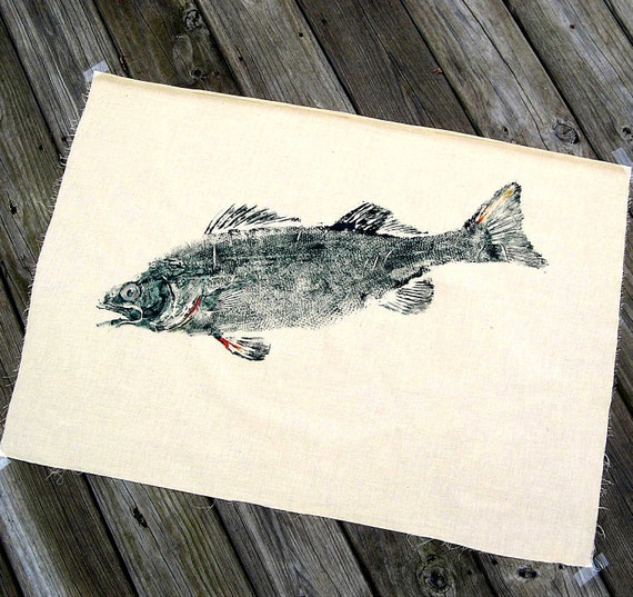 Jumbo Walleye GYOTAKU Fish rubbing Original on muslin