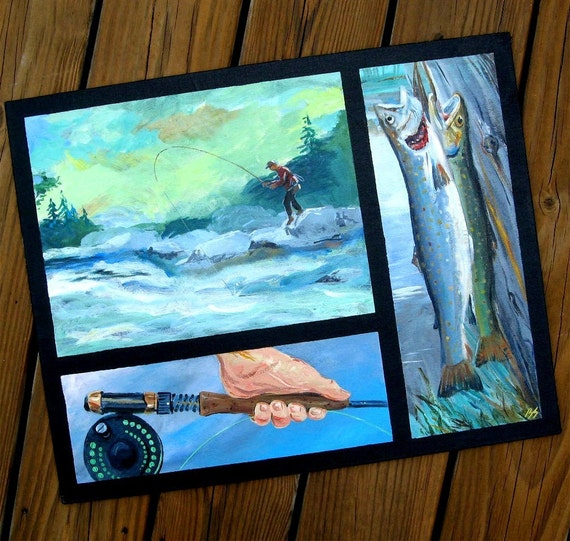 Original Acrylic Painting for the Fly Fishing Trout Fisherman 16X20 Three paintings in one