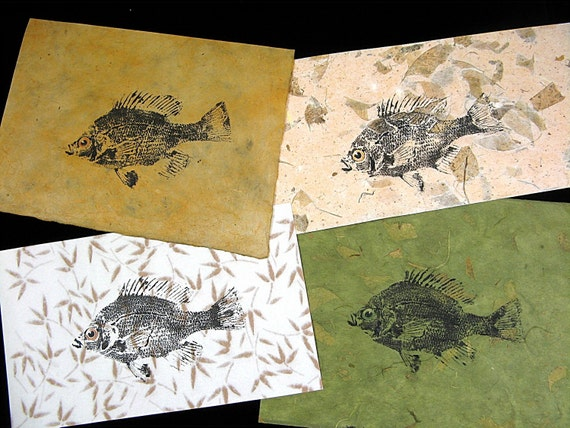 Set of Four Bluegills... Original GYOTAKU fish rubbings all over 6X9 inches