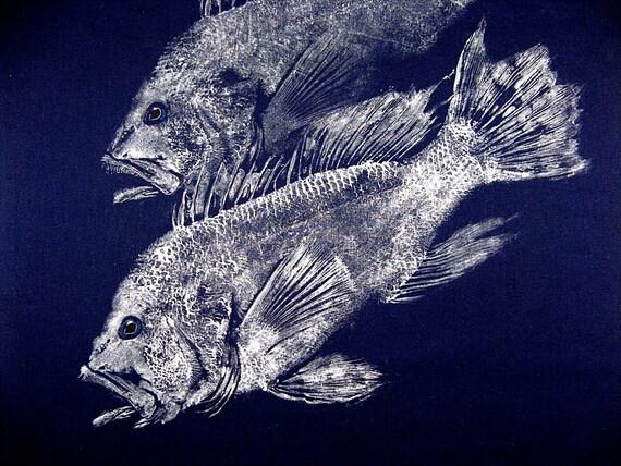 Twin Sea Bass Original GYOTAKU Fish Rubbing Art on Navy cloth