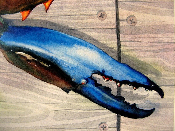 BIG Blue Crab Claw Watercolor Art Print by Barry Singer 11X14