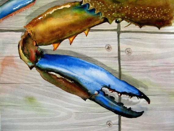 Original Beach Decor Blue Crab Watercolor 12 x 12 inches... by Barry Singer