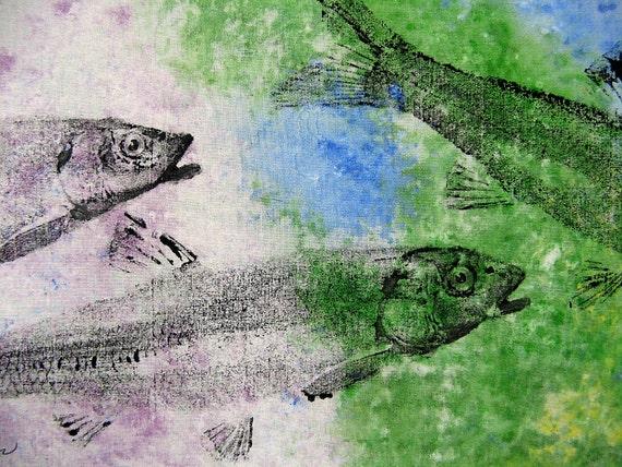 School of Minnows Original GYOTAKU fish art rubbings on cloth