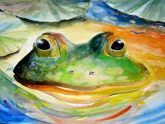 ORIGINAL Giant Watercolor Frog Art 18X19 lake and cottage decor