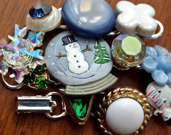 Whimsical Vintage Junk Bracelet - Winter Snow Globe Snowman - Collage of Buttons, rhinestones, sparkle, enamel charms - Holiday gift for her