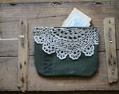 antique lace zipper pouch