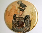 Renaissance Lady with Mask Pocket Mirror or KeyChain