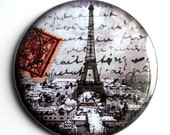 Eiffel Tower Red Postage Pocket Mirror or KeyChain