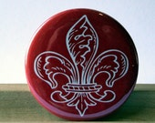 Red Fleur Di Lis Pocket Mirror