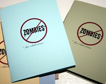 Small Zombie Notebook-handstitched blank journal, diary, shopping list