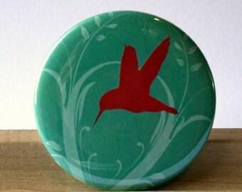 Rose Pink Hummingbird Pale Blue Pocket Mirror