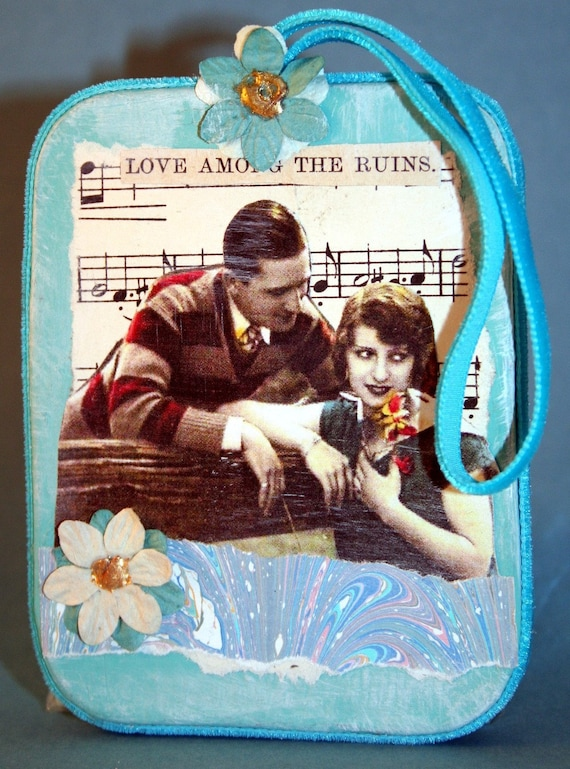 Shabby Sweet Original Collaged Paper Mache Ornament- Love Among the Ruins