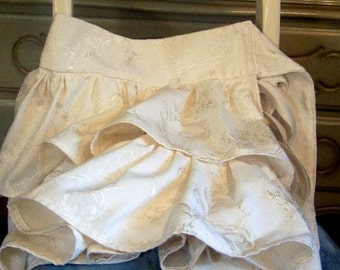 Ruffled Skirt ELISABETH  mini skirt,brocade,buttermilk,cream,vanilla,tie,leggings