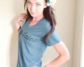 Medium-JE T'AIME...ORGANIC Ladies' V Neck Tshirt in Earth Ocean