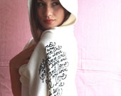 "Sale Eco Fleece Scarf. ""Love and Love and Love"" in Creme"
