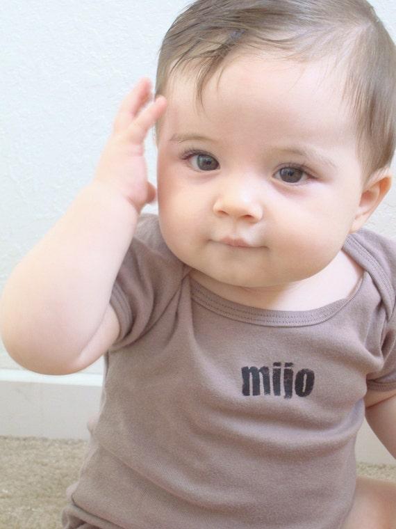3-6 mos-MIJO...ORGANIC Cotton Baby\/Infant Bodysuit Boy in Cinder