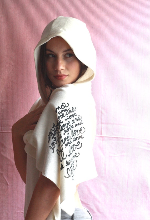 """Sale Eco Fleece Scarf. """"Love and Love and Love"""" in Creme"""