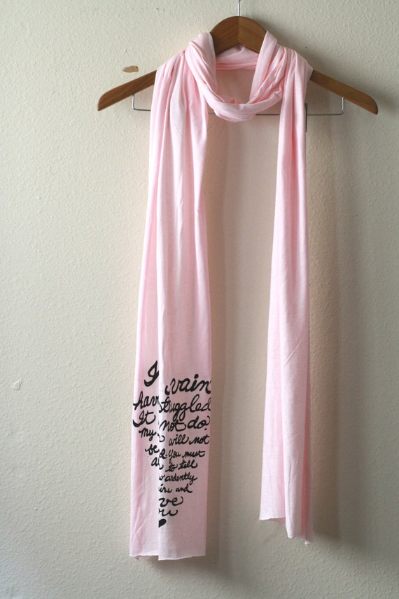 Sale. Jane Austen Quote Book Scarf in Pink. Mr. Darcy's Proposal. READY TO SHIP