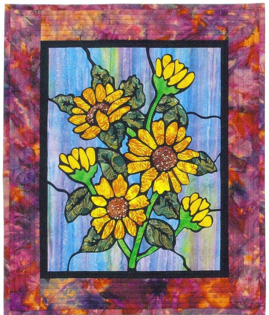 Black Sunflowers Stained Glass