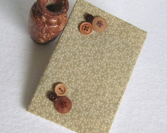 Fabric Covered Mini Journal, Blank Journal, Mini Notebook, Blank Notebook, Tan Notebook, Decorated Journal