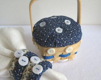 Napkin Ring Set, Mini Picnic Basket, Blue and White Napkin Rings, Calico Fabric Napkin Rings