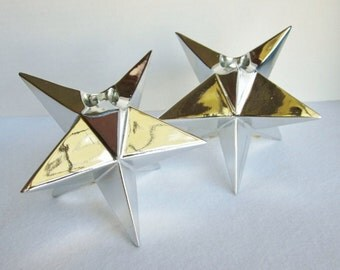 Vintage Fitz and Floyd Silver Star Candle Holders, Star Candlesticks, Art Deco Christmas, Holiday Stars, Glam Decor, Christmas Candles