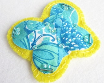 Butterfly Brooch, Beaded Butterfly Pin, Felt Butterfly Brooch, Aqua and Yellow Pin