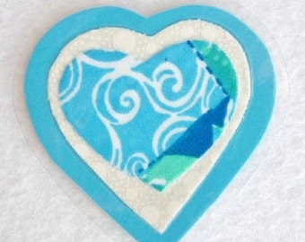 Blue Heart Brooch, Fabric Heart Brooch, Blue and White Heart, Sweetheart Pin, Fabric Art Pin