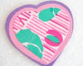 Purple Heart Pin, Fabric Heart Pin, Sweetheart Pin, Floral Heart Brooch, Pink Heart Brooch