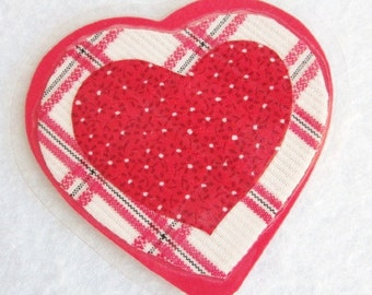 Red Heart Valentine Brooch, Plaid Fabric Heart Brooch, Laminated Heart Pin