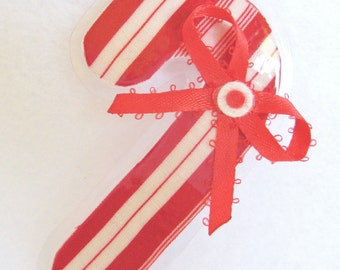 Candy Cane Christmas Brooch, Fabric Candy Cane Pin, Holiday Brooch, Red and White Christmas