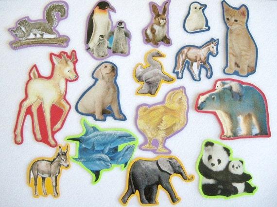 Baby Animals Felt Board Set, Teacher's Resource, Home School Preschool, Animals Flannel Board