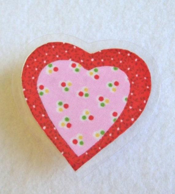 Polka Dot Heart Brooch, Sweetheart Pin, Fabric Heart Brooch, Laminated Pin