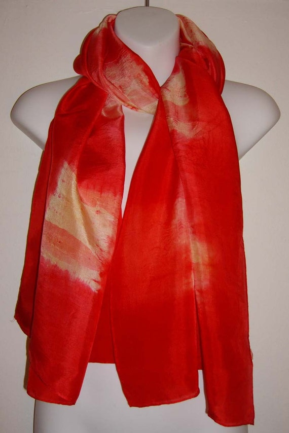 RED SILK 'GINGHAM' SCARF