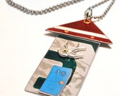 Little House Necklace from Recycled License Plates