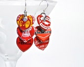 Red Heart Recycled Jewelry Bottle Cap Earrings