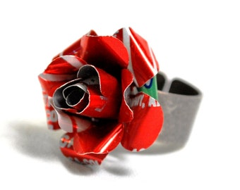 Recycled Jewelry RED COKE Rose Ring