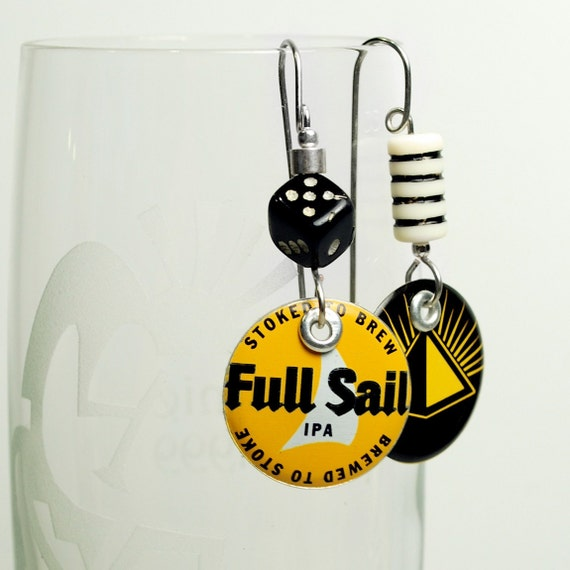 Recycled Bottle Cap Charm earrings