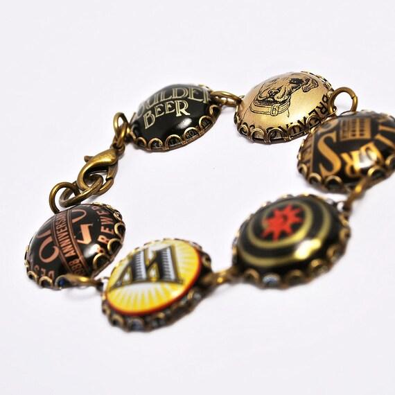 Recycled jewelry beer bottle cap bracelet for Beer cap jewelry