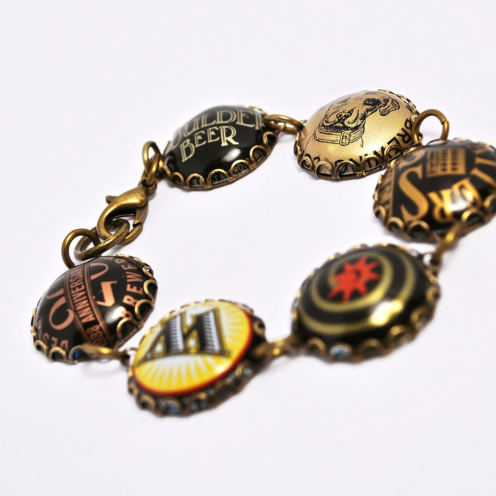 Recycled jewelry beer bottle cap bracelet by wearwolf on etsy - Beer bottle caps recyclable ...