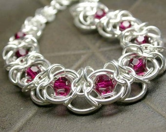 TUTORIAL - Staggered Corduroy with Japanese Overlay Chain Maille Bracelet - Instant Download