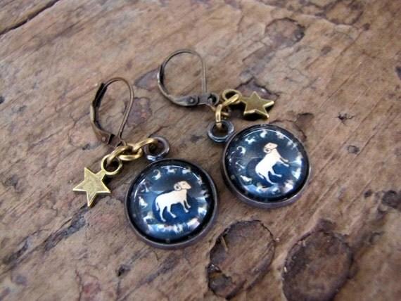 Aries Earrings, Zodiac Earrings, Astrology Jewelry